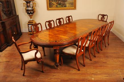 Italian Marquetry Dining Table Queen Anne Chair Set