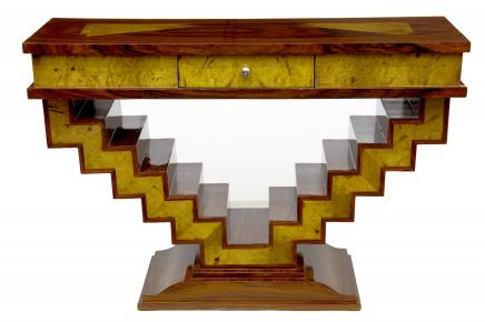 1920s Art Deco Console Table Hall Table Marquetry Inlay