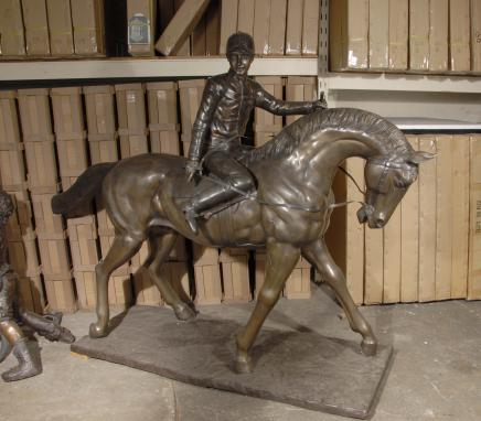 6ft Lifesize French Bronze Horse & Jockey Bonheur