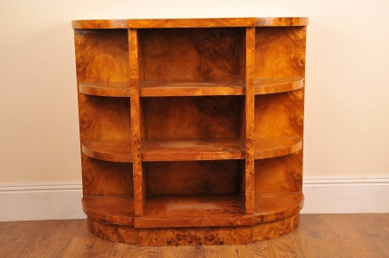 Art Deco Blonde Walnut Bookcase Book Case Sideboard