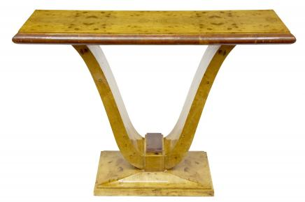 Art Deco Blonde Walnut Console Table Retro Furniture