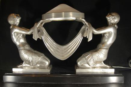 Art Deco Bronze Biba Girl Lamp Light Figurine