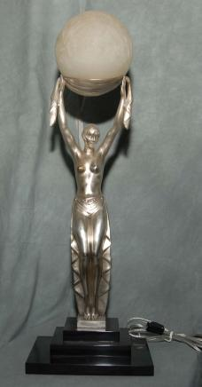 Art Deco Bronze Figurine Lamp Light French Statue