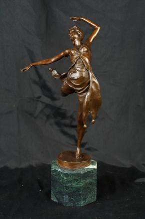 Art Deco Dancer Girl Bronze Statue Signed B Zach Casting