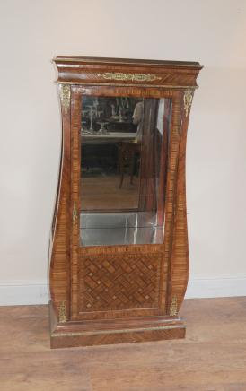 Art Deco Glass Display Cabinet Marquetry Inlay