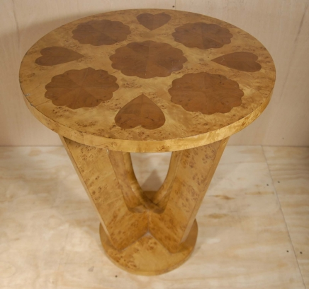 Art Deco Heart Inlay Blonde Walnut Table Tables