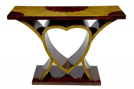 Art Deco Love Console Table Heart Inlay Hall Tables