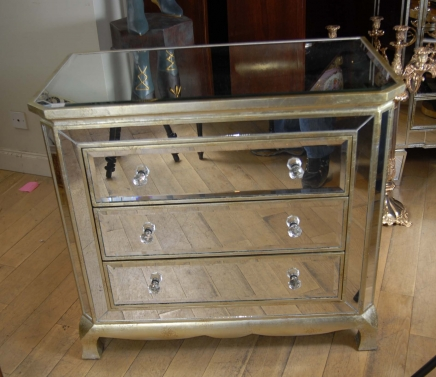 Art Deco Mirrored Italian Chest Drawers Commode Cabinet