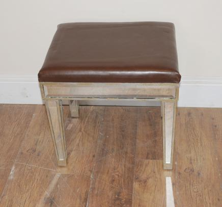 Art Deco Mirrored Stool Mirror Seat