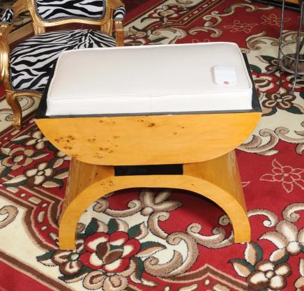 Art Deco Stool Seat Blonde Walnut Chair
