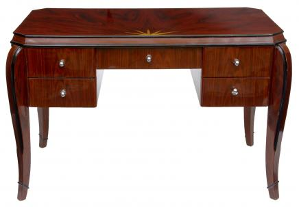 Art Deco Vintage Desk Rosewood Bureau Plat Dressing Table Inlay