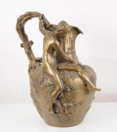 Art Nouveau Bronze Jug Vase Goblet Nude Female By Vibert
