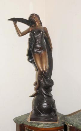 Art Nouveau Bronze Moon Figurine Girl Statue French
