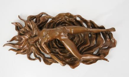 Art Nouveau Bronze Nude Erotic Female Figurine Sexy Lady Plaque