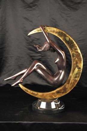 Art Nouveau Bronze Nude Female Moon Figurine