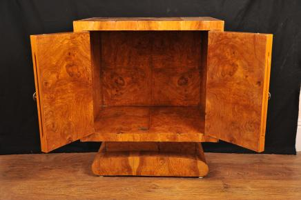 Blonde Walnut French Art Deco Cabinet Chest Bedside Commode