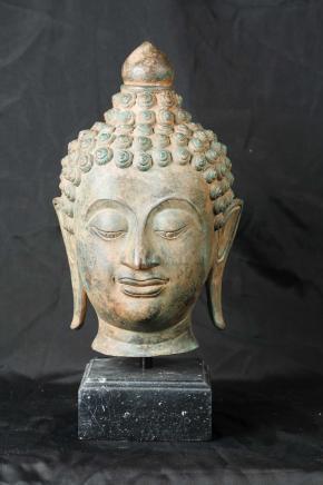 Bronze Buddha Bust Head Buddhist Buddhism Statue Casting Religous Art Interiors