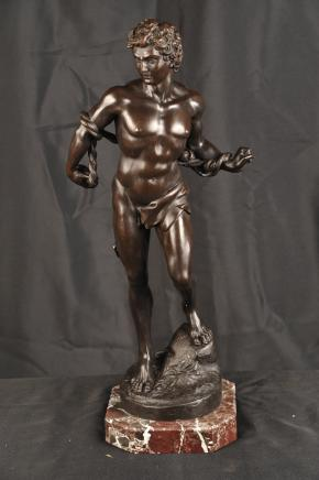 Bronze Casting Male Nude Apollo Figurine