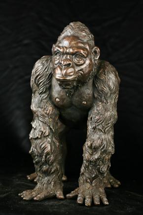 Bronze Gorilla Statue Monkey Primate Art Garden Figure