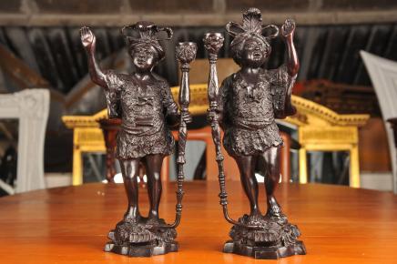 Bronze Italian Blackamoor Figurines Statues Blackamoors
