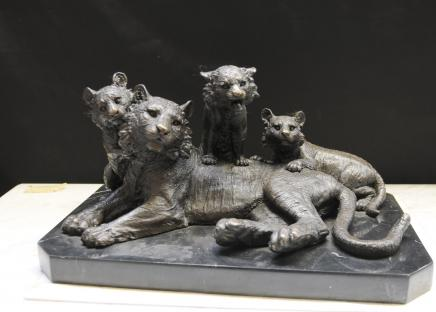 Bronze Statue Tiger & Cubs Lions Animals Casting