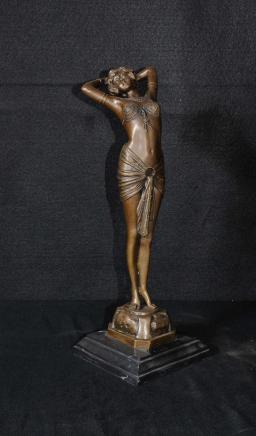 French Art Deco Bronze Figurine Signed Philippe Statue
