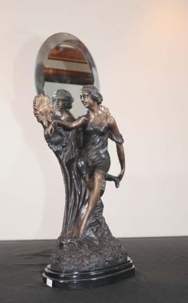 French Art Nouveau Bronze Figurine Mirror