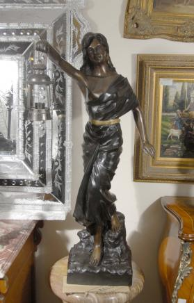 French Art Nouveau Bronze Lantern Girl Lamp Light Figurine