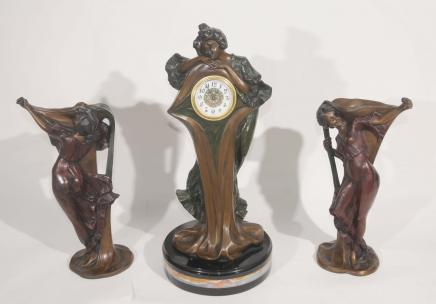French Art Nouveau Clock Vase Set by Flora Urns Figurine