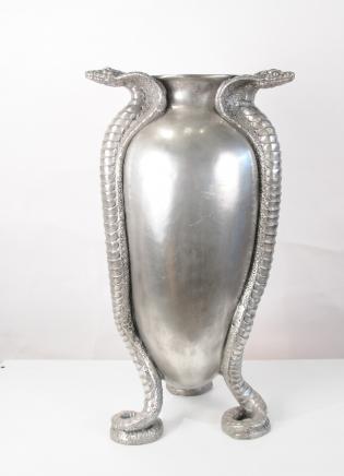 French Art Nouveau Silver Bronze Snake Serpent Urn Vase Jean Dunand