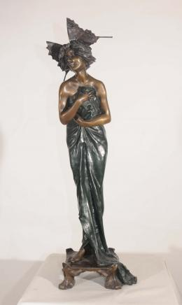 French Bronze Art Nouveau Figurine Butterfly Girl Signed Alliot