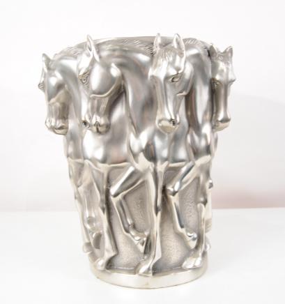 French Bronze Art Nouveau Horse Urn Bowl Planter