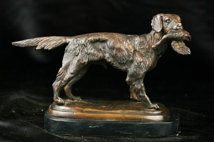 French Bronze Dog Goose Hunt Scene Statue