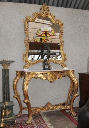 French Rococo Gilt Console Table Mirror Set Hand Carved