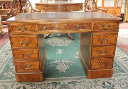 George II Knee Hole Desk Walnut Bureau