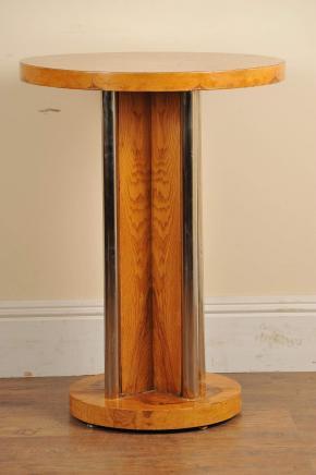 Gorgeous Art Deco style tall side table in blonde walnut