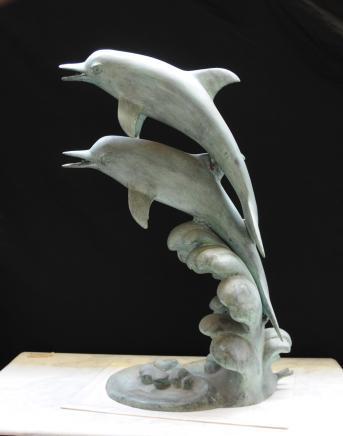 Italian Bronze Dolphin Fountain Garden Art Water Feature