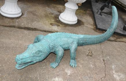 Large Bronze Crocodile Alligator Statue Garden Art