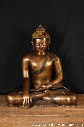 Large Bronze Thai Buddha Statue Buddhist Buddhism Religious Art Garden