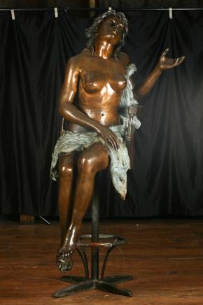 Lifsize Bronze Female Nude Stool Figurine Art Nouveau Naked Lady
