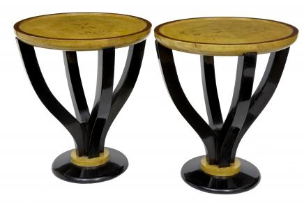 Pair Art Deco Biederemier Side Sofa Tables Vintage Furniture