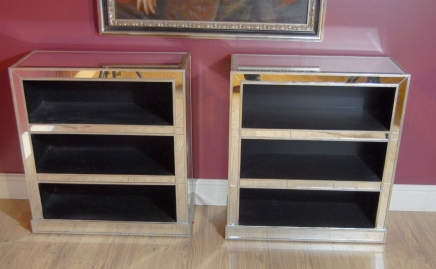 Pair Art Deco Mirrored Bookcases Book Case Mirror
