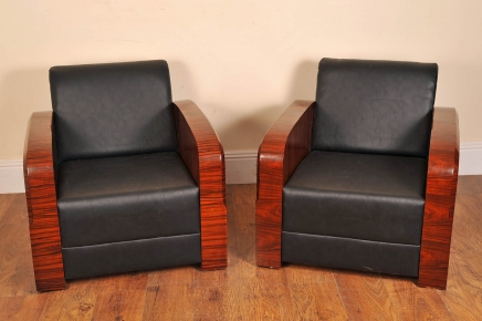 PAIR ART DECO ROSEWOOD CLUB CHAIR SOFA LOUNGE ARM CHAIRS