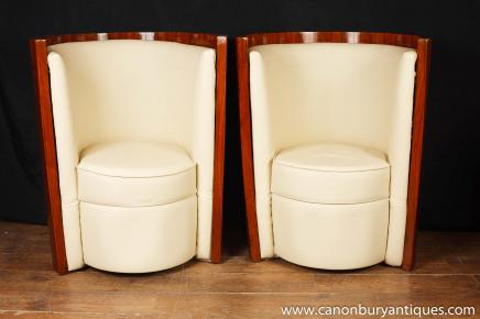 Pair Art Deco Tub Club Chairs Arm Chairs Armchair Lounge Interiors
