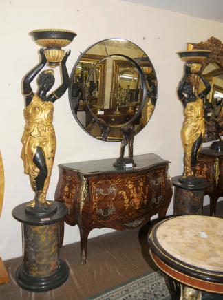 Pair Bronze Blackamoor Figurines 6ft Statues by Milo