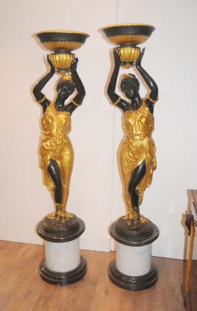 Pair Bronze Italian Blackamoor Statues Torcheres Signed