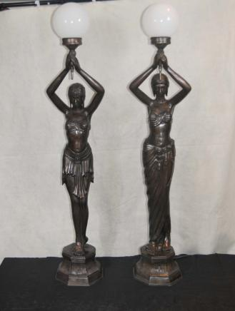 Pair French Bronze Female Figurine Lamps Torcheres Semi Nude