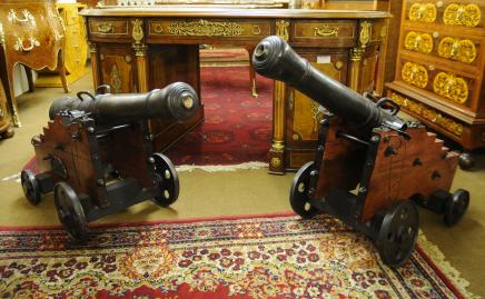Pair French Bronze Wood Cannons Canon Gun Military