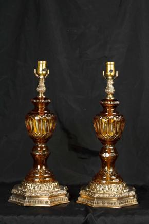 Pair French Cut Glass Table Lamps Lights Ormolu Base Opaline