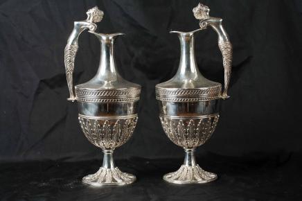 Pair George II Silver Plate Jugs Ewers Vases